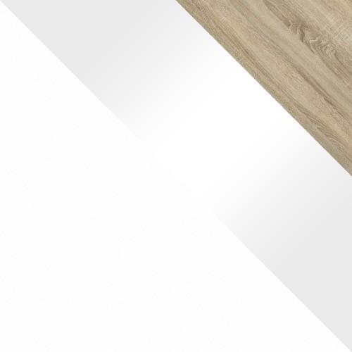 biały / biały połysk + dąb sonoma