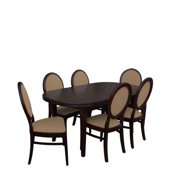 Stół rozkładany z krzesłami dla 6 osób - RK003