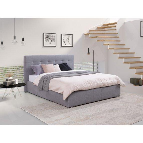 Łóżko sypialniane z pojemnikiem i stelażem Biela
