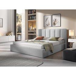 Łóżko tapicerowane Werbena z pojemnikiem na pościel na metalowymstelażu