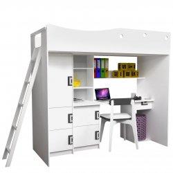 Łóżko wysokie z biurkiem Niczi